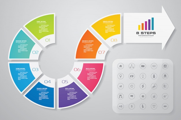 Infographik gestaltungselement pfeil. Premium Vektoren