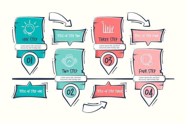 Infographik handgezeichnete business-schritte Kostenlosen Vektoren