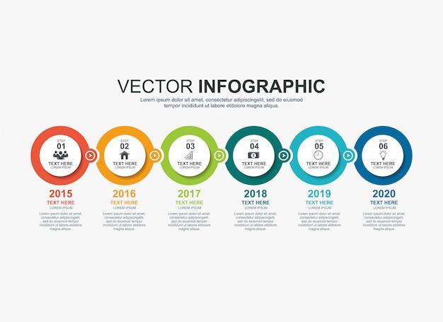 Infographik kreiselemente timeline-prozessdiagrammvorlage Premium Vektoren