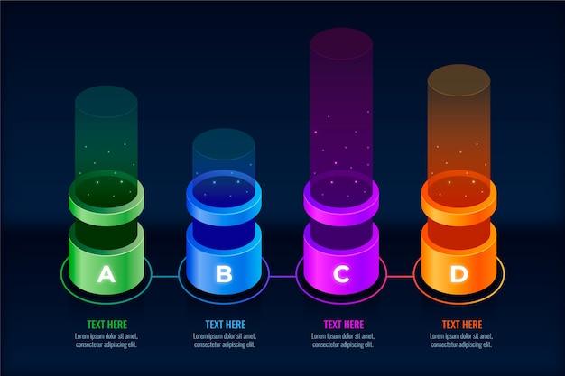 Infographik mit 3d bunten balken Kostenlosen Vektoren