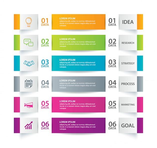 Infographik register papier index mit 6 datenvorlage. Premium Vektoren