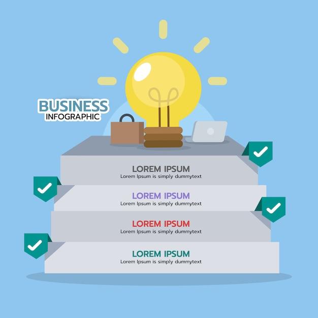 Infographik schritt, um idee mit glühbirne zu bekommen. geschäftskonzept, grafisches element. Premium Vektoren