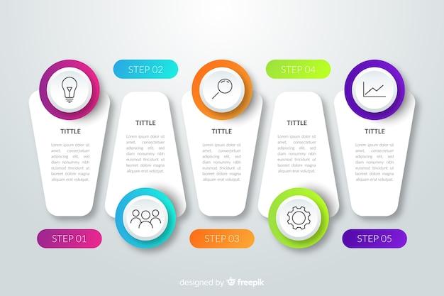 Infographik schritte farbverlaufsvorlage Kostenlosen Vektoren