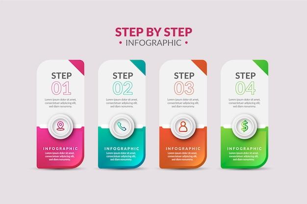 Infographik schritte im farbverlauf Kostenlosen Vektoren