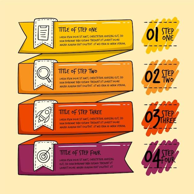 Infographik schritte in hand gezeichnet Kostenlosen Vektoren