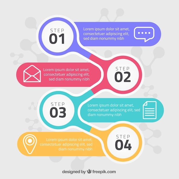 Infographik schritte konzept Kostenlosen Vektoren
