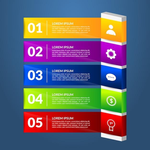 Infographik schritte vorlage farbverlauf Kostenlosen Vektoren