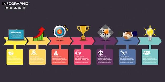 Infographik template-design mit symbolen und optionen. Premium Vektoren