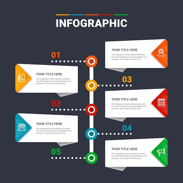 Infographik vorlage 5 optionen Premium Vektoren