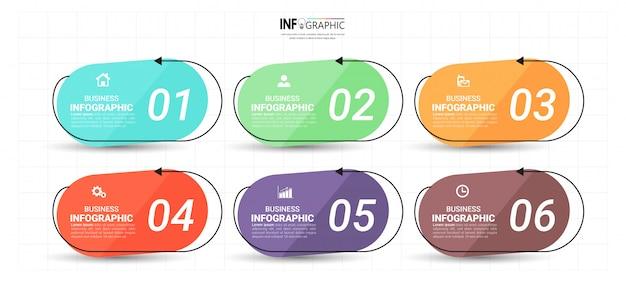 Infographik vorlage 6 optionen. Premium Vektoren