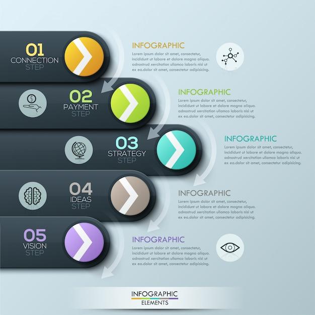 Infographik vorlage der modernen geschäftsart Premium Vektoren