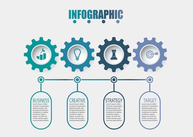 Infographik vorlage des präsentationsgeschäfts mit 4 optionen. Premium Vektoren