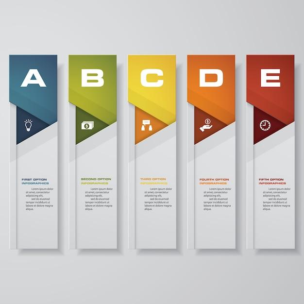 Infographik vorlage für 5 optionen, schritte oder prozesse. Premium Vektoren
