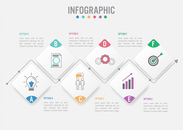 Infographik vorlage für unternehmen mit optionen Premium Vektoren