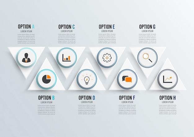 Infographik vorlage mit 3d-papier Premium Vektoren