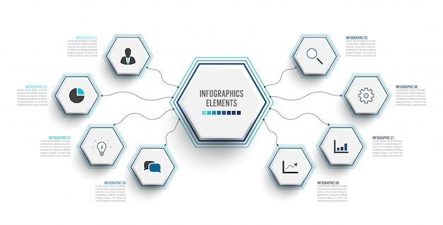 Infographik vorlage mit 3d papieretikett. geschäftskonzept mit 8 optionen. Premium Vektoren