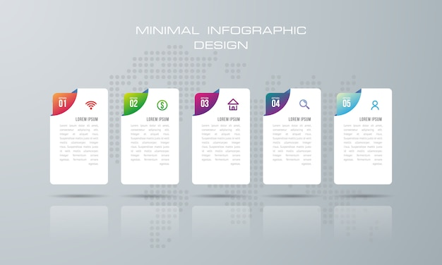Infographik vorlage mit 5 optionen, workflow, prozessdiagramm, timeline infografiken design vektor Premium Vektoren