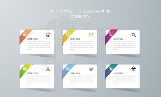 Infographik vorlage mit 6 optionen, workflow, prozessdiagramm, timeline infografiken design vektor Premium Vektoren