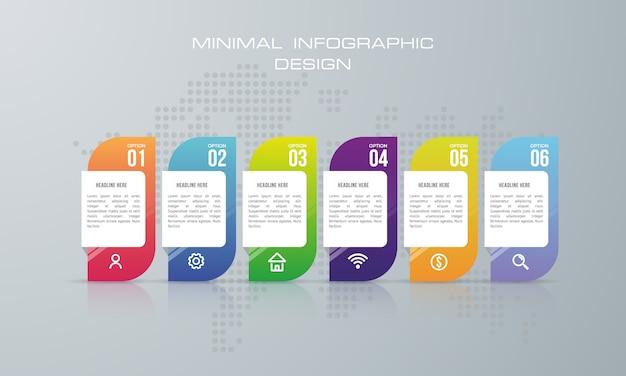 Infographik vorlage mit 6 optionen, workflow, prozessdiagramm, timeline infografiken design Premium Vektoren