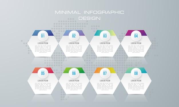 Infographik vorlage mit 8 optionen, workflow, prozessdiagramm, timeline infografiken design Premium Vektoren