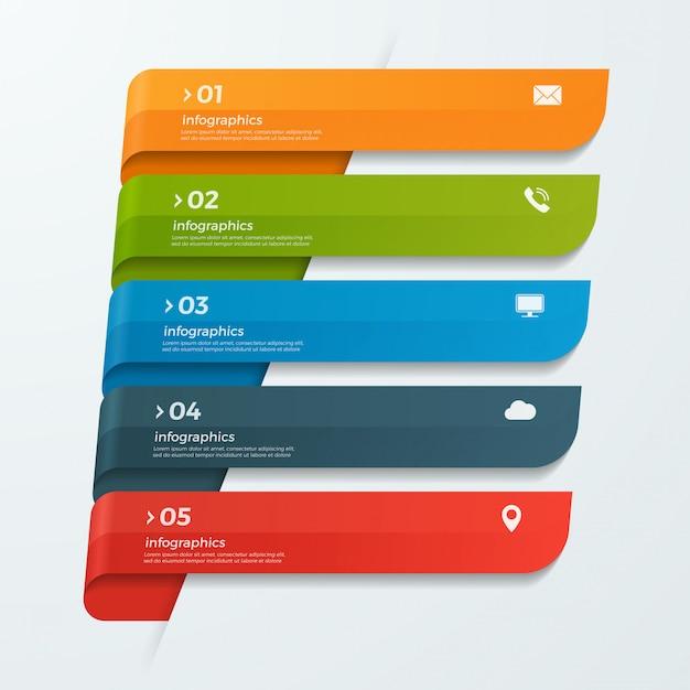 Infographik vorlage mit bändern banner pfeile 5 optionen Premium Vektoren
