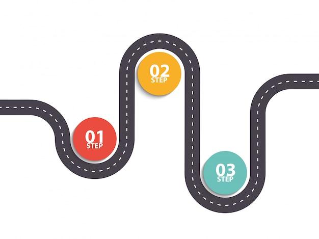 Infographik vorlage mit drei schritten asphalt road diagramm Premium Vektoren