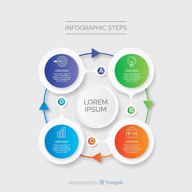 Infographik vorlage mit farbverlauf mit schritten Kostenlosen Vektoren