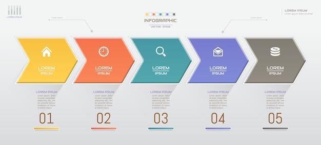 Infographik vorlage mit symbolen Premium Vektoren