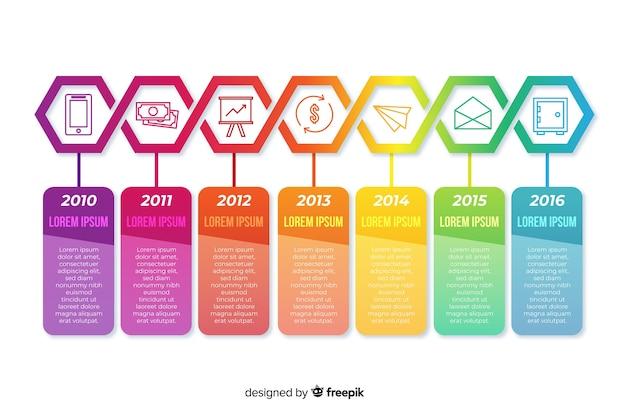 Infographik vorlage mit timeline-konzept Kostenlosen Vektoren