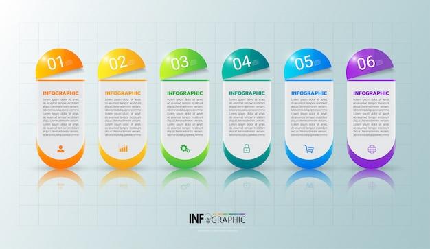 Infographik vorlage sechs optionen Premium Vektoren