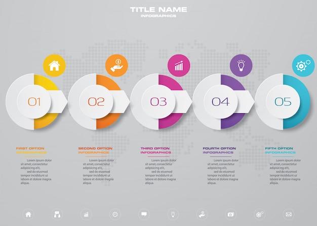 Infographikelement mit 5 schritten für zeitachsen. Premium Vektoren