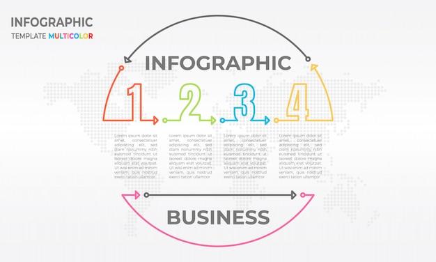 Infographikkreis der zeitleiste und anzahl 4-optionen. Premium Vektoren