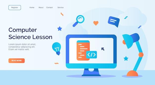 Informatikunterricht oder programmierklasse-videokurs für web-homepage homepage landing template banner mit cartoon flat style Premium Vektoren