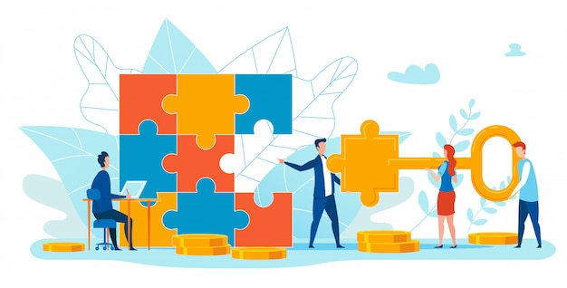 Informational banner matching puzzle element. Premium Vektoren
