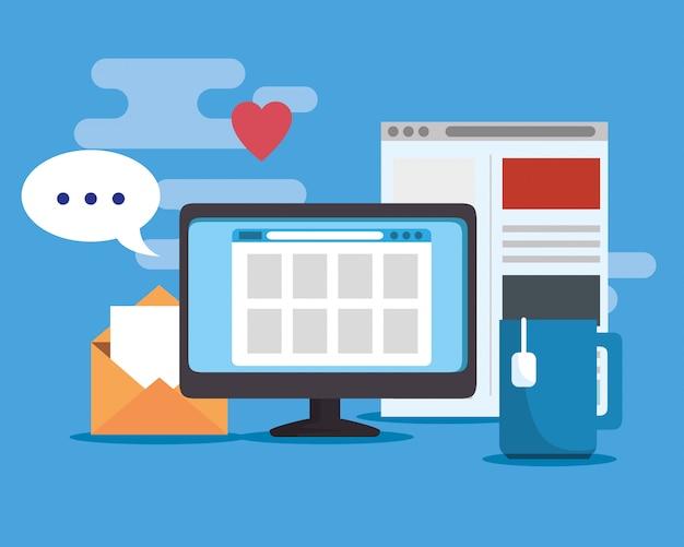 Informationen zur computerwebsite und digitale verbindung Kostenlosen Vektoren