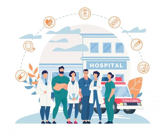 Informationsplakat krankenhauspersonal cartoon wohnung. Premium Vektoren