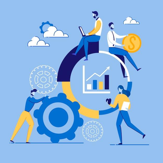 Informationsplakat-marketing-einrichtungs-karikatur Premium Vektoren