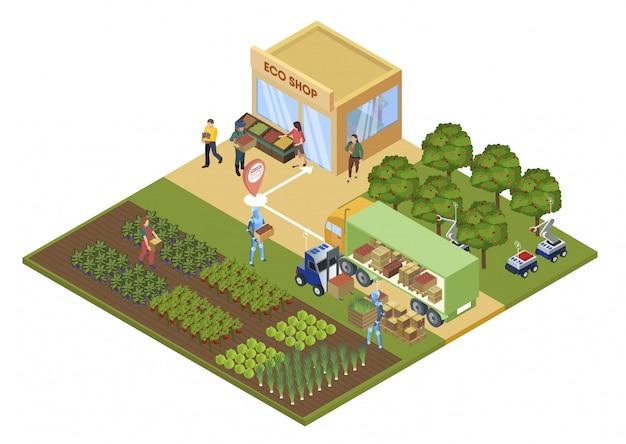 Informationsplakat-öko-shop-vektor-illustration. Premium Vektoren