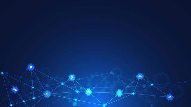 Informationstechnologischer hintergrund mit infografik-elementen und flachen symbolen. Premium Vektoren