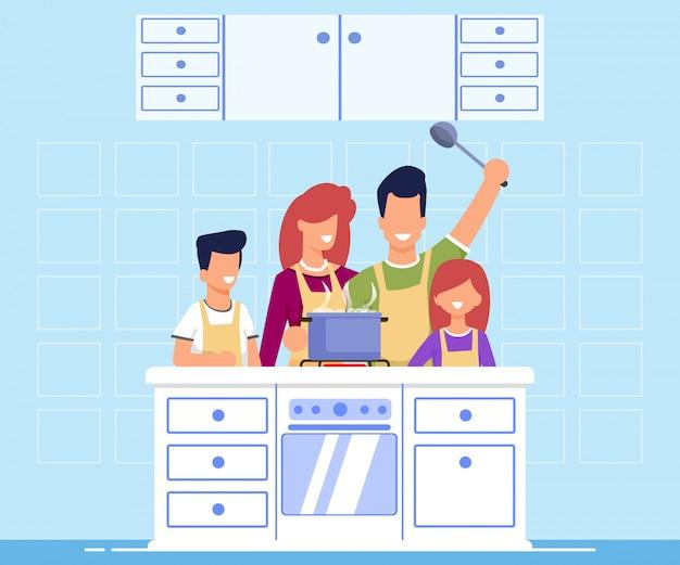 Informative fahnen-familie, die flache karikatur kocht. Premium Vektoren