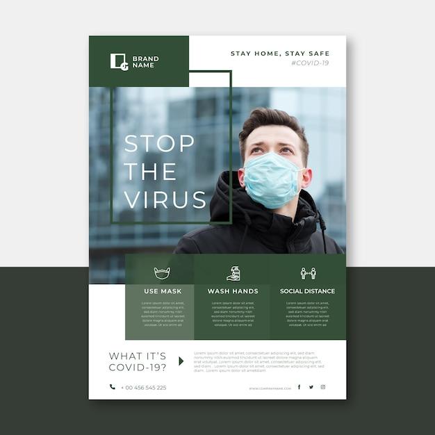 Informativer coronavirus-flyer Premium Vektoren