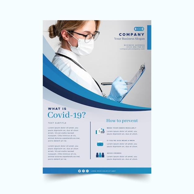 Informatives coronavirus-flyer-konzept Premium Vektoren