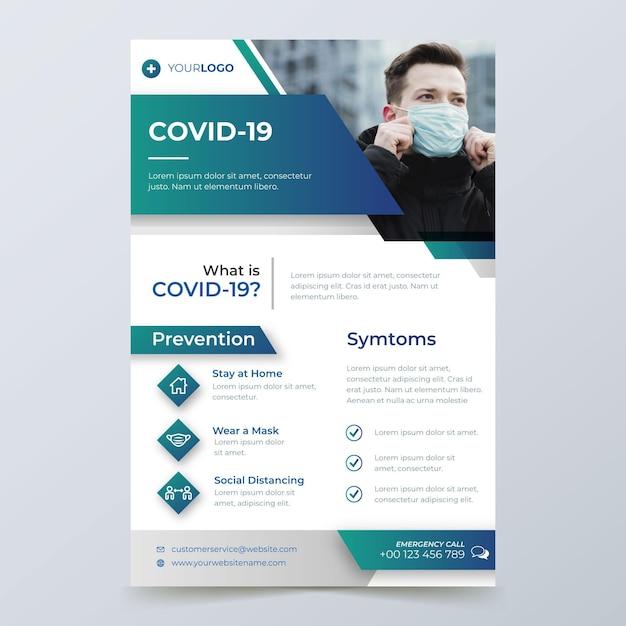 Informatives coronavirus-flyer-konzept Kostenlosen Vektoren