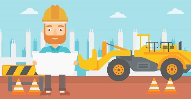 Ingenieur, der einen plan hält. Premium Vektoren