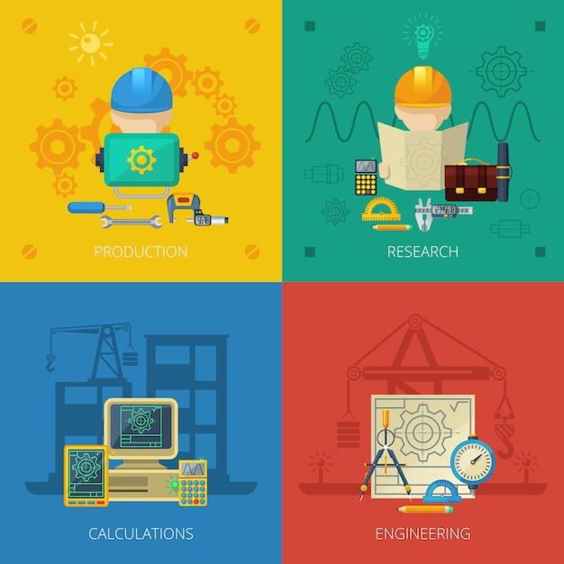 Ingenieur-flaches ikonen-zusammensetzungs-quadrat Kostenlosen Vektoren