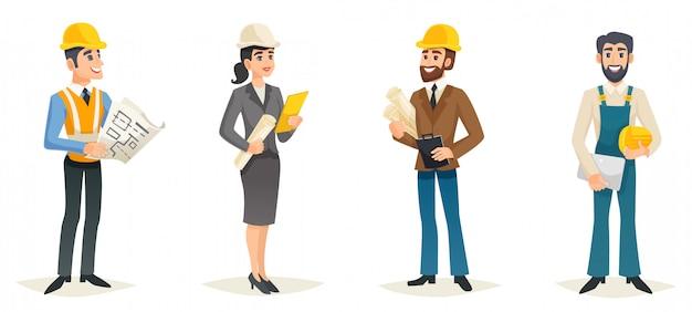 Ingenieur-karikatur-set Kostenlosen Vektoren