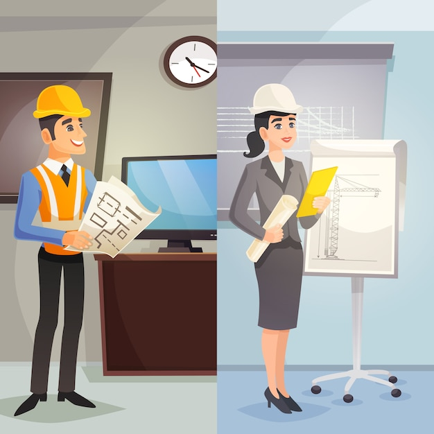 Ingenieur-karikatur-vertikale fahnen Kostenlosen Vektoren