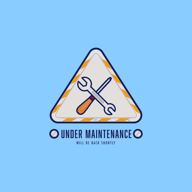 Ingenieur reparaturmann unter wartung abzeichen logo zeichen mit schraubendreher und schraubenschlüssel gut für die wartung oder konstruktion der website Premium Vektoren