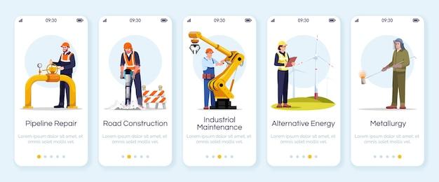 Ingenieure, die die bildschirmvorlage für mobile apps einbinden. rohrreparatur, straßenbau. industriearbeiter. walkthrough-website schritte mit zeichen. smartphone-cartoon ux, ui, gui Premium Vektoren