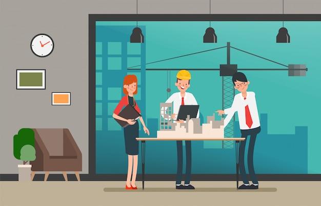 Ingenieurleute teamwork industrie charakter. Premium Vektoren